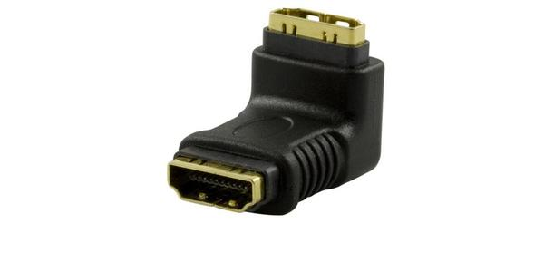 HDMI-adapter HDMI-14, 19-pin hun til hun, vinklet