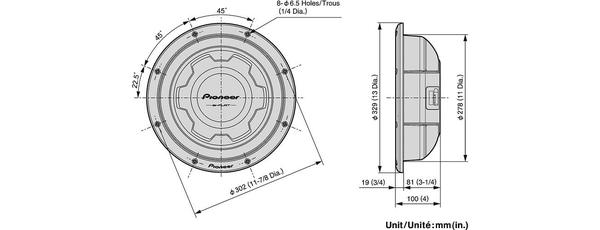 Pioneer TS-SW3001S4 30 cm flad 4 Ohms subwoofer (1500W)