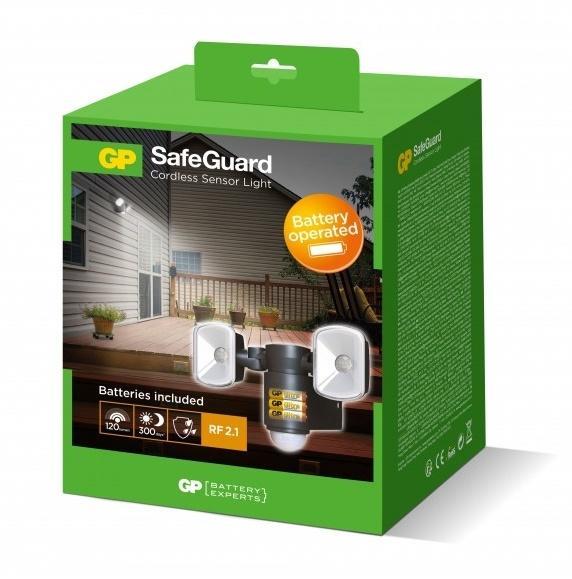Udendorslampe med sensor og batteri LED Safeguard RF2 1